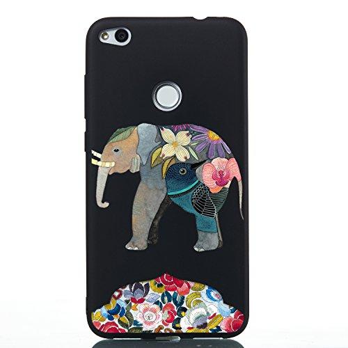 Everainy Funda Compatible para Huawei P8 Lite 2017 P9 Lite 2017 Silicona Carcasa TPU Suave Case Caso Goma Caucho Delgado Ultrafina Parachoque Negro Antigolpes Back Cover (Elefante)