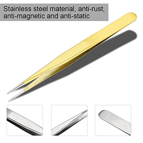 13,5 cm / 5,3 pouces anti-magnétique pince à faux cils, pince à cils en acier inoxydable, pour greffe de cils à cils(Straight head)