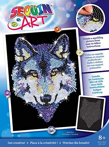 MAMMUT 8041215 - Sequin Art Paillettenbild Wolf, Steckbild, Bastelset mit Styropor-Rahmen, samtige Bildvorlage, Pailletten, Steckstiften, Anleitung, für Kinder ab 8 Jahre