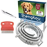 ShengKou Flea and Tick Collar for Dog, Made with Natural Plant Based Essential Oil, Safe and Effective Repels Fleas and Ticks, Waterproof, Fits Large Dog