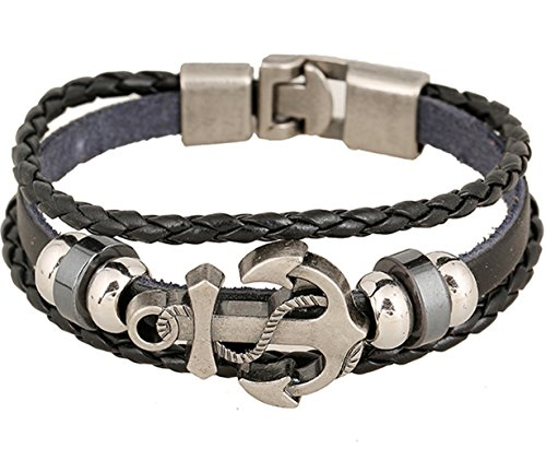 BodyPJ Sparkles Rock Multilayer Handmade Leather Nautical Anchor Bracelets Men Retro Braided Charm Bracelet (Black)