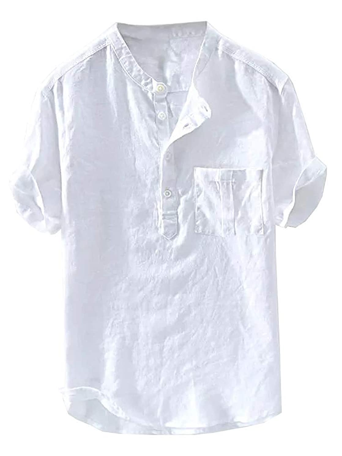 Beotyshow Mens Summer Linen Henley Shirt Mandarin Collar Retro Chinese Style Short Sleeve Tees Casual Shirts for Men