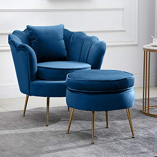 Huisenuk Occasional Living Room Armchairs with Ottoman Stool Set Single Wingback Sofa Side Chair Tub Chairs Navy Blue Velvet with Upholstered Seat for Bedroom Lounge Modern Home Office Decor Chairs