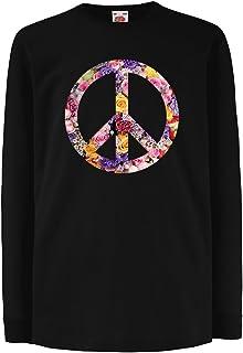 キッズボーイズ/ガールズTシャツ 平和のシンボル、60年代、70年代、ヒッピー、平和サインの花、夏、レトロ、SWAG