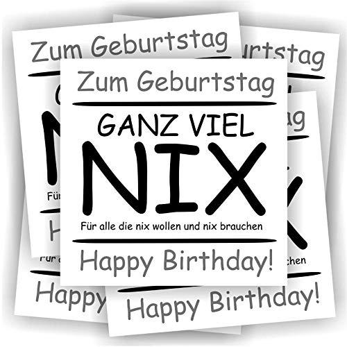 Play-Too 5 Aufkleber Geburtstag Etikett Flasche Sektflasche Weinflasche Bierflasche Happy Birthday Ganz viel NIX