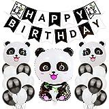 JOTOM Panda Happy Birthday Party Decorations Supplies with Happy Birthday Banner,Cute Panda Balloons,Latex Party Balloons Birthday Party Decorations (Cute Panda)