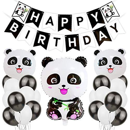 JOTOM Décoration de Fête d'anniversaire, Bannières de Joyeux Anniversaire Thème du Panda Ballons en Latex Noir Blanc Pennant Bannière (Panda)