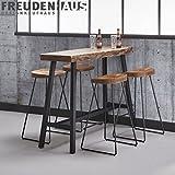 Freudenhaus Stehtisch Bartisch Wood Akazie Baumkante Industrial 125 x 46
