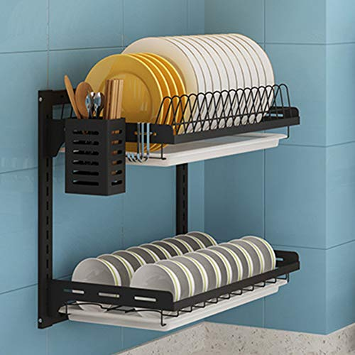 Warmiehomy Dish Rack Plate Organizer Storage Shelf, 2-tier Stainless Steel Dish Dry Rack Bowl Holder with the Drain board, 3 Hooks and Chopstick Spoon Holder