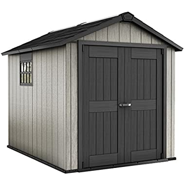 Keter Oakland 7.5 x 9 Outdoor Duotech Storage Shed, Paintable with Window and Skylight, Grey