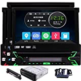 EinCar Single Din Car Stereo GPS Navigation Headunit in Dash 1Din Car Radio with 7 Inch Capacitive Touchscreen Bluetooth Autoradio Receiver Aux Subwoofer 1 din Car CD DVD Player Free 8GB GPS Map Card