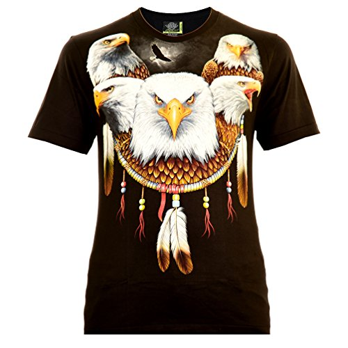 Eagle Mandala Herren T-Shirt Schwarz Gr. M Glow in The Dark