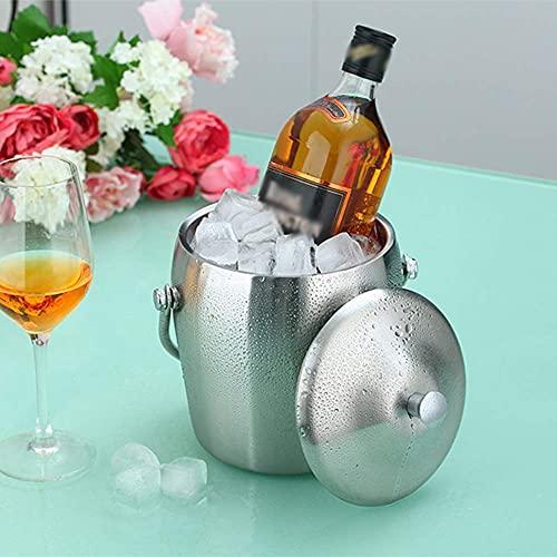 N\C DMKD Cubo de Hielo Cubierto de Doble Capa portátil Creativo de Estilo Europeo, Barra de Hielo de champán de Vino Tinto Cubo de Xiaoice para el hogar, Acero Inoxidable Plateado 1L2L zkz DMKD
