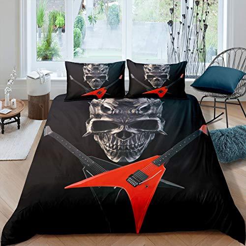 Tbrand Horror Iron Skull Bedding Set Single Guitar Music Red Duvet Cover Set Luxury Printed Bedding Set Xmas Comforter Cover Set for All Season 2pcs (1 Duvet Cover with Pillowcases)