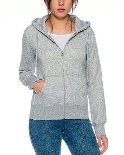 Crazy Age Cooler Zip Hoodie Kapuzenjacke Sweatjacke aus hochwertigen Baumwollmischung (Hellgrau, S=34)