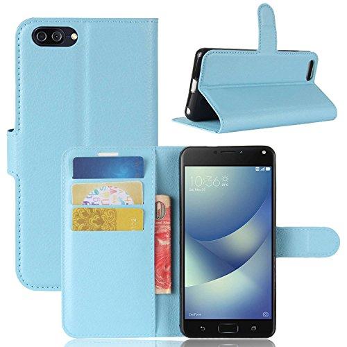 Ycloud Tasche für Asus Zenfone 4 MAX ZC520KL Hülle, PU Kunstleder Ledertasche Flip Cover Wallet Hülle Handyhülle mit Stand Function Credit Card Slots Bookstyle Purse Design blau