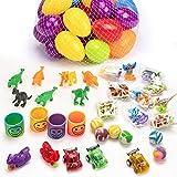 JamBer 36 Piezas Sorpresa Accesorios Huevos de Pascua Rellenos con de Dinosaurios y Mini Coches de Juguetes para Niños para Decoración de Fiesta de Pascua Hunt