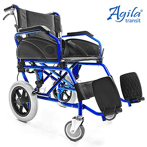 AIESI® Rollstuhl faltbar Ultra-leichter aus aluminium mit bremse für ältere und behinderte menschen AGILA TRANSIT # Doppelbremssystem # Sicherheitsgurt # 24 monate garantie