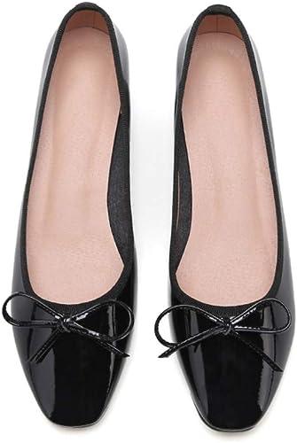 AJUNR Femmes Loisirs 3 Cm des Chaussures Plates Femmes Printemps Arc Laque Faible Talon