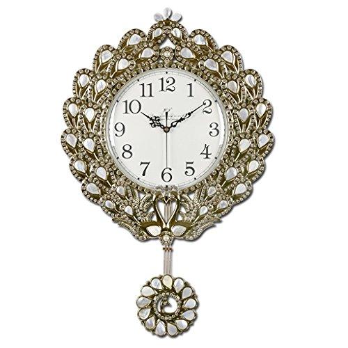 Jack Mall Grandes coquilles de Fer de Style européen Suspendus horloges Salon Cloches Quartz Horloge Chambre Calme décoration (Couleur : B)