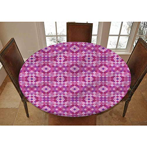LCGGDB Trellis Elastic Edged Polyester Fitted Tablecolth -Quatrefoil Pattern Persian- XSmall Round Fitted Table Cover - Fits Tables up to 39' Diameter,The Ultimate Protection for Your Table