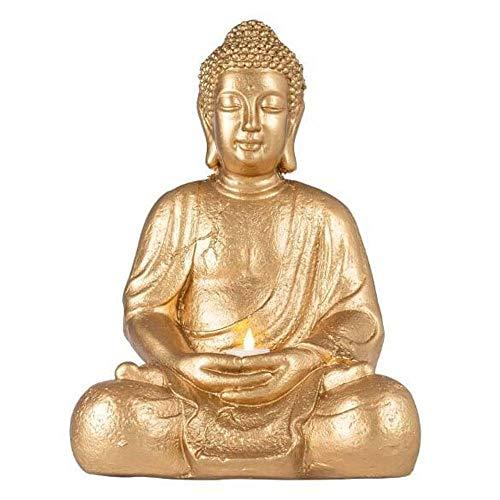 Kavali Concepts Estatua de Buda, Color Oro. Buda Decoración. Buda de la Abundancia. Feng Shui. Figura Decorativa para Interior o Exterior. Buda en Posición Flor de Loto Grande. Buda del Éxito