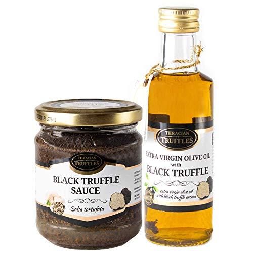 Huile d olive Extra Virgin Gourmet avec de truffes noires Tuber Aestivum 100ml et Truffe d été noire Tuber aestivum Sauce GOURMET 80g