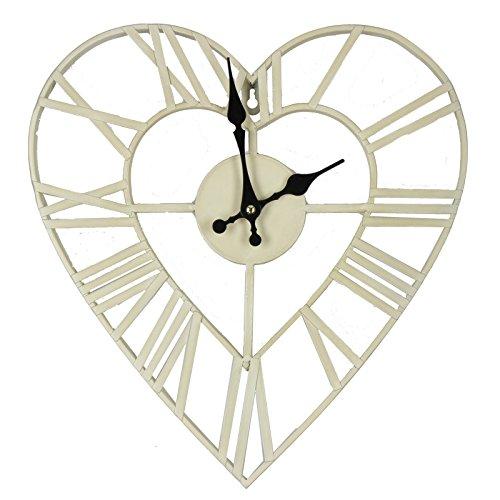 Time for Home 35cm Shabby Chic Antik-Stil Metall Herzen Form Wanduhr