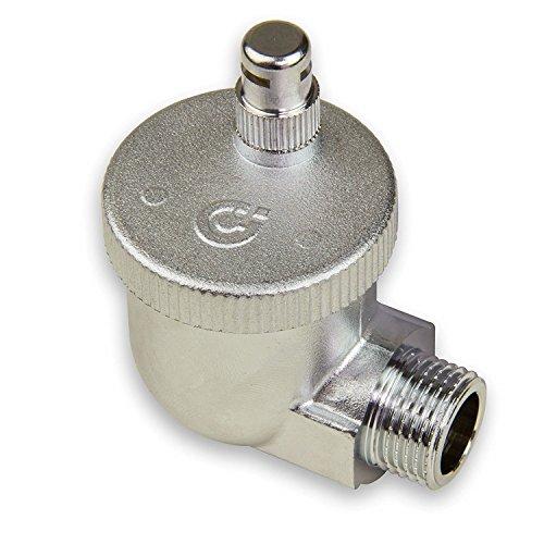 Caleffi 504401 AERCAL Automatischer Schnellentlüfter 1/2 Zoll AG Entlüftungsventil Entlüfter Eck Heizkörperventil aus Pressmessing Verchromt mit hygroskopischer Sicherheitskappe