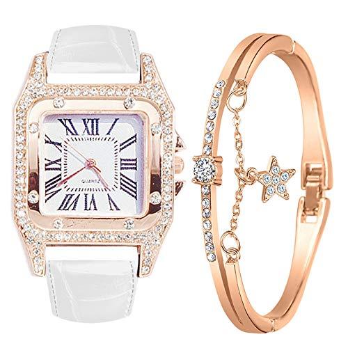 Damen Armbanduhr mit Armreif Armbänder Zweiteiliger Anzug Quartz Uhr Mode Damen Uhren Geschäftsquarzuhr Business Quarzuhr Armband Damenaccessoires Geschenk für Frauen (B-Weiß)