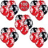 Gejoy 100 Piezas Negro con Lunares Blancos y Rojo con Globos de Lunares Blancos para Diferentes Actividades, Bodas, Celebraciones, Fiestas, cumpleaños, decoración de Fiestas