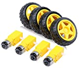 4pcs DC Electric Motor 3-6V Dual Shaft Geared TT Magnetic Gearbox Engine with 4Pcs Plastic Toy Car Tire Wheel, Mini Φ67mm Smart RC Car Robot Tyres Model Gear Parts, Yeeco