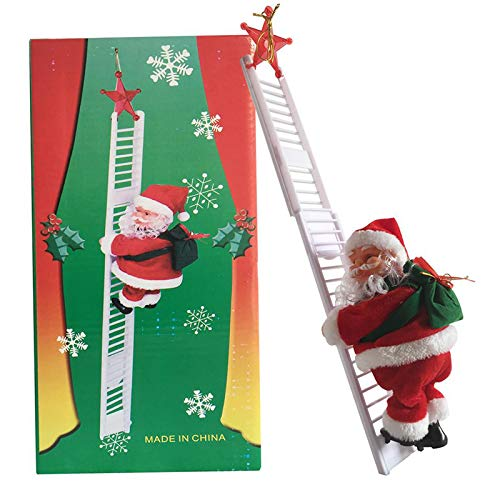 Climbing Ladder Santa, Christmas Electric Climbing Santa Claus, Xmas Figurine Ornament, Climbing with Music Hanging Decor, Party Decoration (red A)