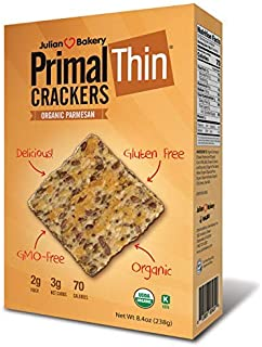 Julian Bakery Primal Thin Crackers | Parmesan | USDA Organic | Gluten-Free | Grain-Free | GMO Free | Low Carb | 1 Pack