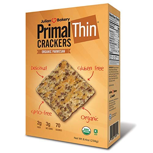 Primal Thin Crackers (Parmesan)(Organic)(Low Carb, Gluten-Free, Grain-Free) (8.4oz) (Package May Vary)