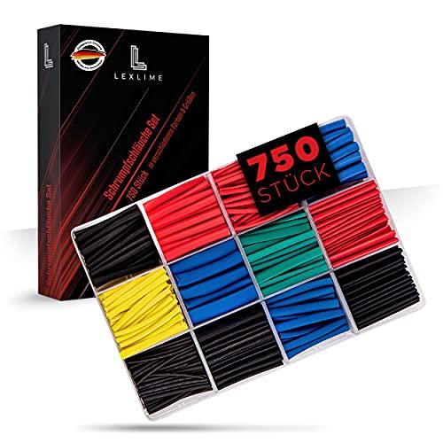 LEXLIME│Premium Schrumpfschlauch Set Sortiment – [750 Stück & 2:1 Schrumpfverhältnis] – Mit [12] verschiedenen Größen – [1,0mm bis 10,0mm] – [45mm] Länge – Isolierschlauch für Kabel – In [5] Farben