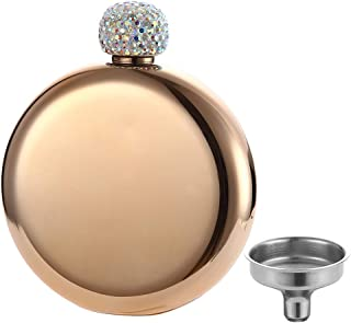 YFS Gold Shot Flask, 5oz 18/8 Stainless Steel Pocket Liquor Flask, Perfect Gift for Women Girls Men