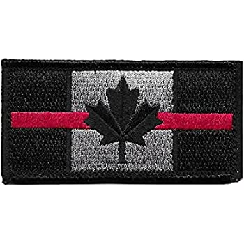 X.Sem Red Line Canada Flag Patch 1.75 x 3.5 Tactical Patches Embroidery Morale Emblem