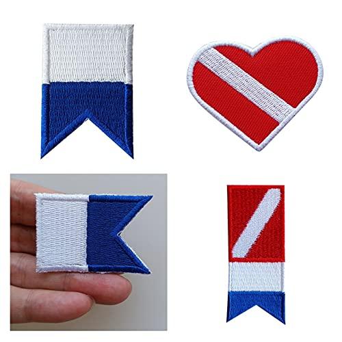 BLTR Fuerte 3 unids/Set Bandera buceador Abajo Bandera Parche Insignia Buceo Buceo Hierro-en Costura Bordado Parches Decorativos Durable