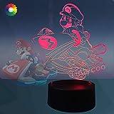 Jinlyco® Super Mario - Lámpara de mesa LED 3D multicolor con mando a distancia, lámpara de noche para decoración de casa, lámpara de Ilustración cumpleaños, Navidad, regalo de Año Nuevo, Mario Car)