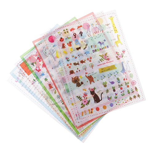 6 Hojas Pegatinas Transparentes Suitable para Diario,Libro,Agenda,Caja de Regalo