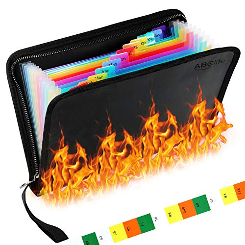 """Fireproof File Folder Organizer A5 Size,11.2""""x7.5"""" Water Resistant Document Bag 13 Pockets Money Briefcase Filing Folder with Silicone-Coated Expanding File Organizer Pouch Storage with Zipper Closure"""