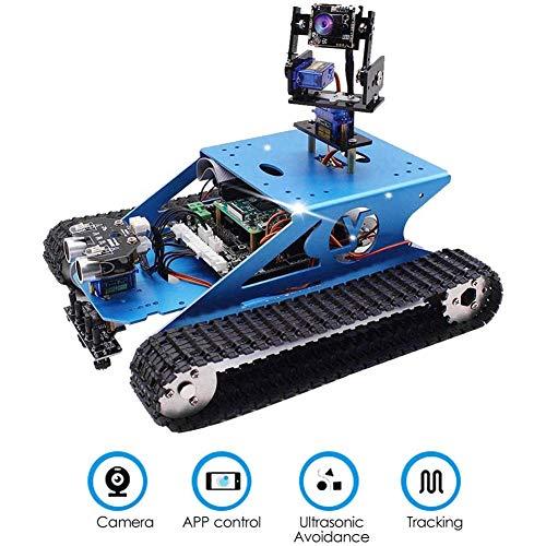 Cestbon Smart WiFi Robot Kit de Programmation vidéo sans Fil Ligne de capteur de Transmission vidéo électronique DIY Roboterkit ultrasons Suivi Compatible,Bleu