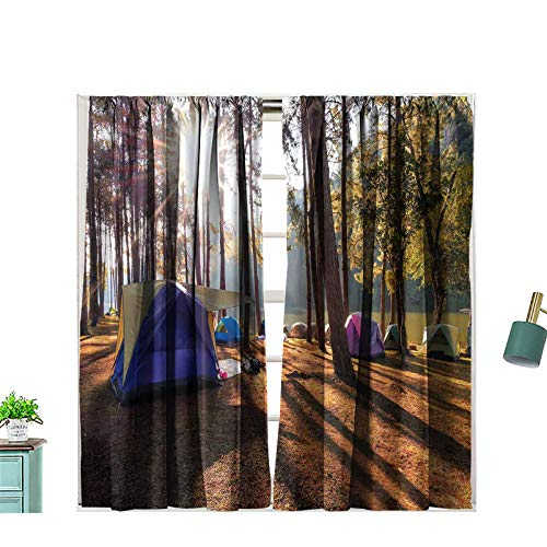 Hiiiman Rod Pocket Window Curtains Camping and Tent Under The Pine Forest in Sunset 100% Blackout for Bedroom Living Room, W72 x L63