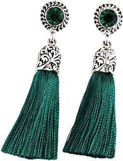 LnLyin - Pendientes largos de borla con flecos y borlas de borla para mujer, estilo bohemio, estilo vintage Total Length 6...