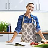 Happylohas Sterne Schürze mit Tasche Baumwolle Leinen Damen Küchenschürze Latzschürze Kochschürze zum Kochen oder Backen beige - 4