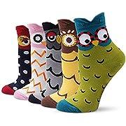TUKNON Socken Damen, Sneaker Socken, Warme Socken Damen, Mädchen Socken, Wollsocken, Socken aus Baumwolle Tier Charakter Design, Atmungsaktiv Komfortable Boden Socken, 5 Paar