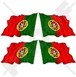 Portugal Portugais Saluant Drapeau République Portugaise 5,1cm (50mm) bumper-helmet en vinyle autocollants, Stickers x4