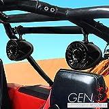 GoHawk AS5-X Gen.3 All-in-One 600W Built-in Amplifier 5' Full Range Waterproof Bluetooth ATV RZR UTV Stereo Speakers Audio Amp System USB AUX, 1.5 to 2' Rollcage Bar Polaris 4 Wheeler Can-Am