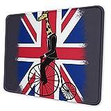 Mousepad Union Jack Penny Farthing Giraffe Britische Flagge Mousepad Benutzerdefiniertes Rechteck Gummi Rutschfestes Bürozubehör Spielmatte Computer Laptop Schreibtisch Dekor 2 Gr 20X24cm